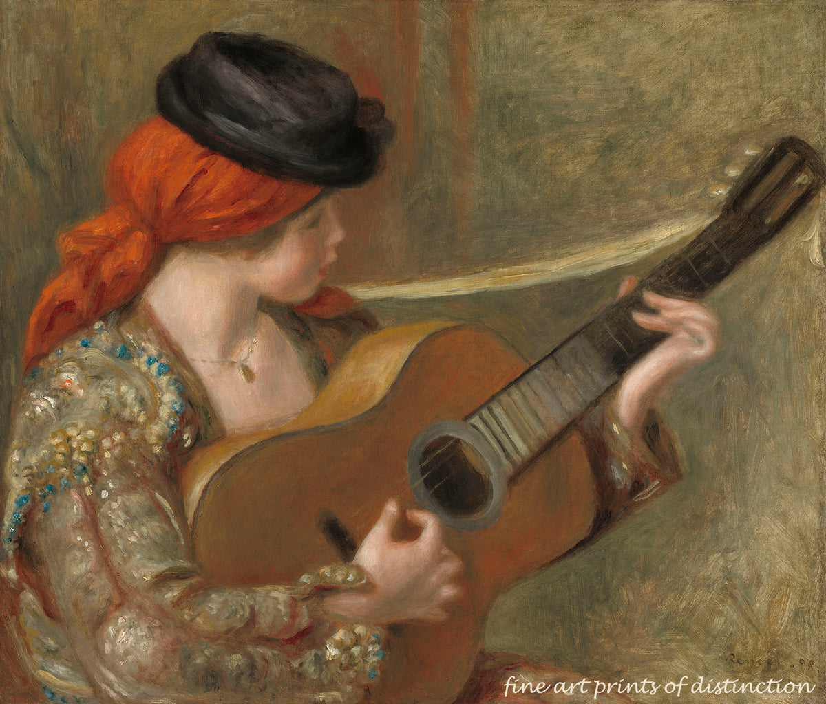 Young Spanish Woman with a Guitar painted by Auguste Pierre Renoir premium print