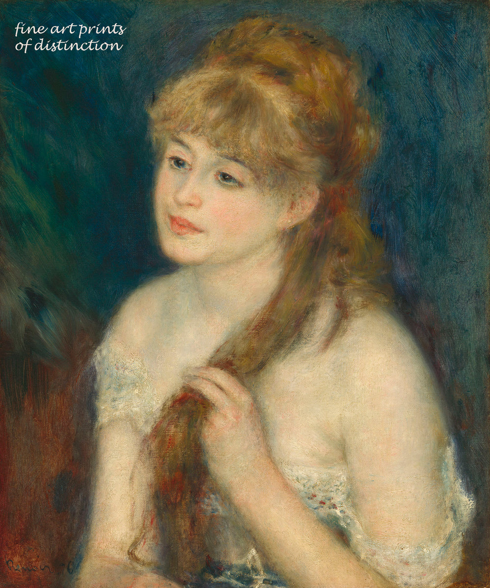Young Woman Braiding her Hair painted by Pierre Auguste Renoir premium print