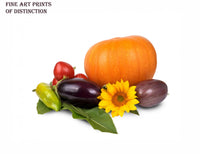 Fall Still Life with Pumpkin, Eggplant and Vegetables Premium Print