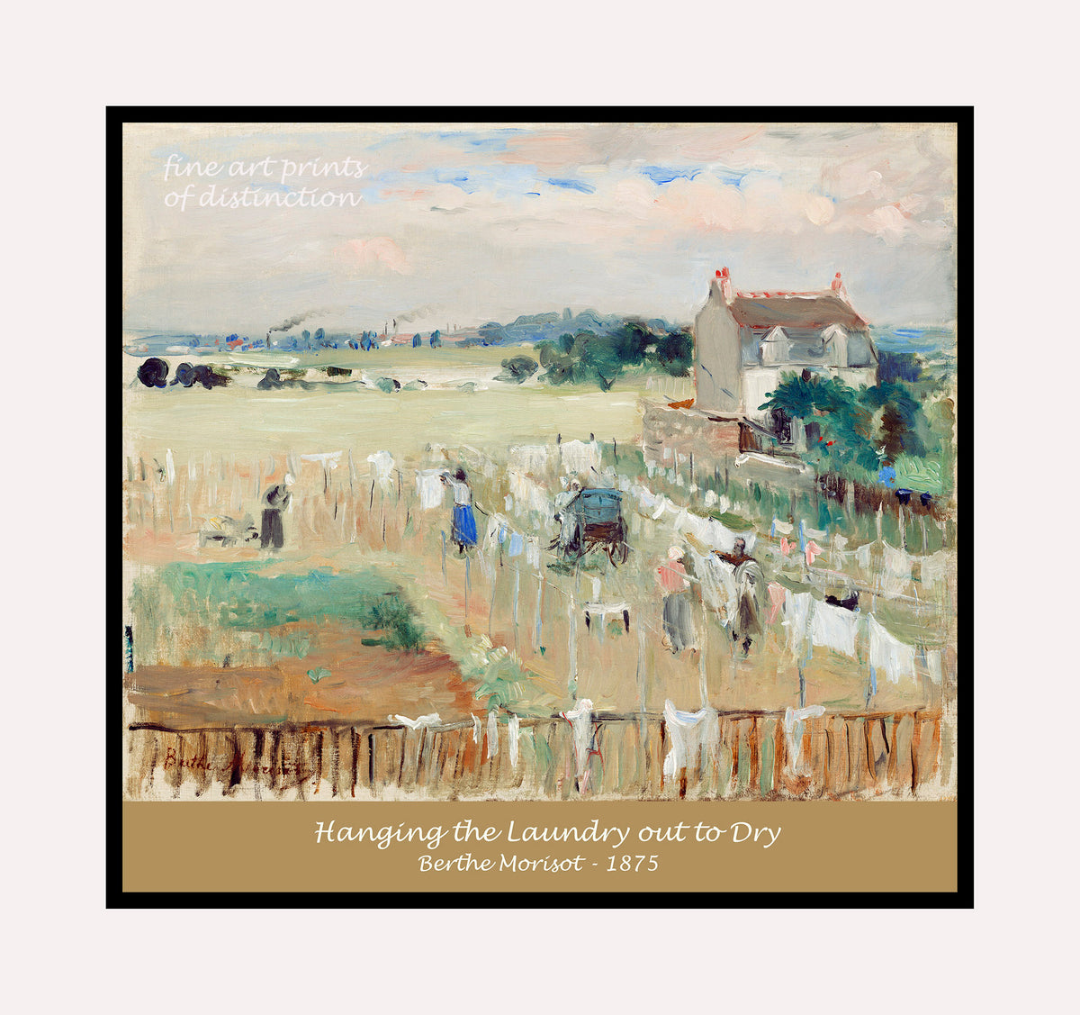 Hanging the Laundry out to Dry painted by Berthe Morisot premium poster