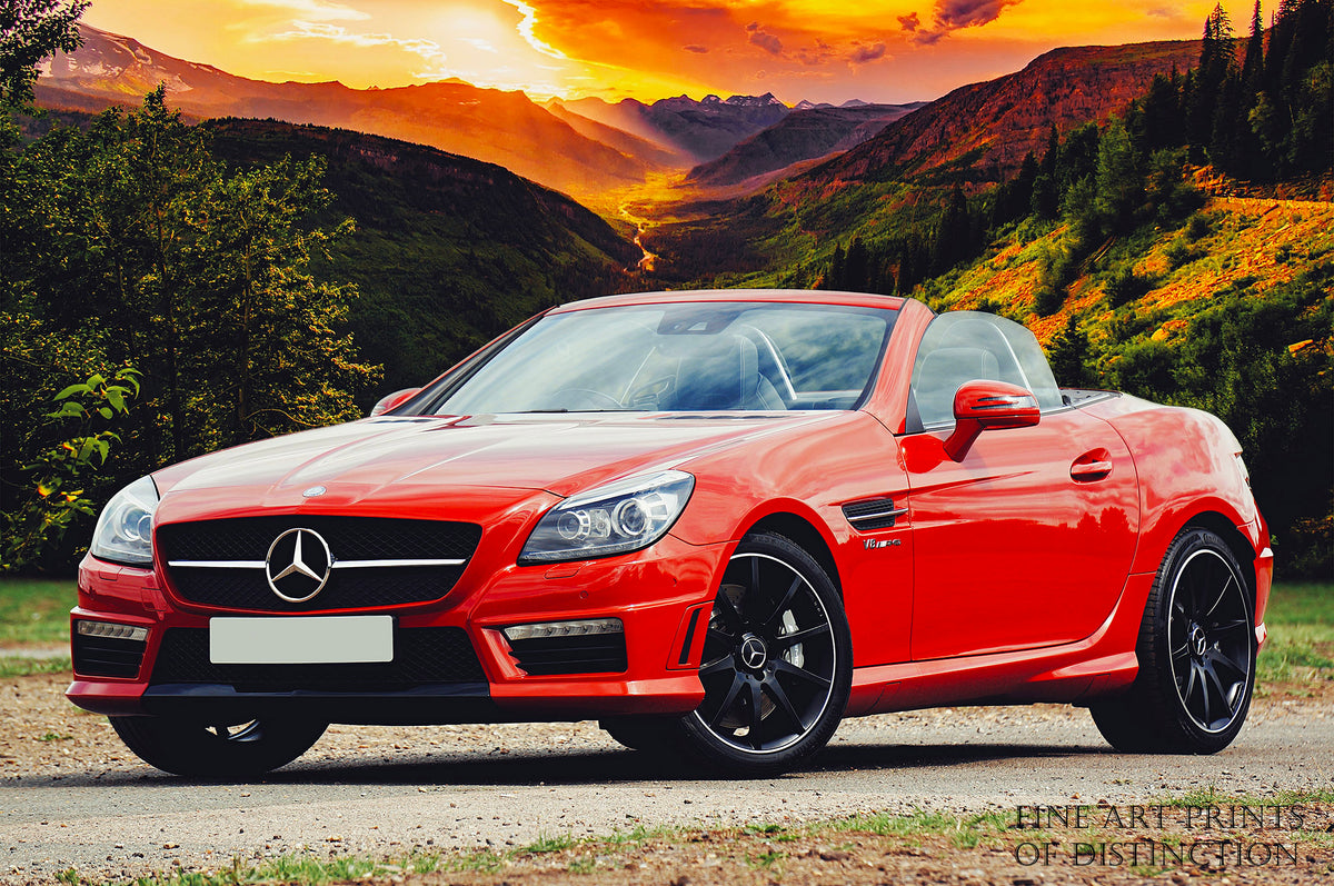 Mercedes AMG red Convertible Sport's Car Premium Print