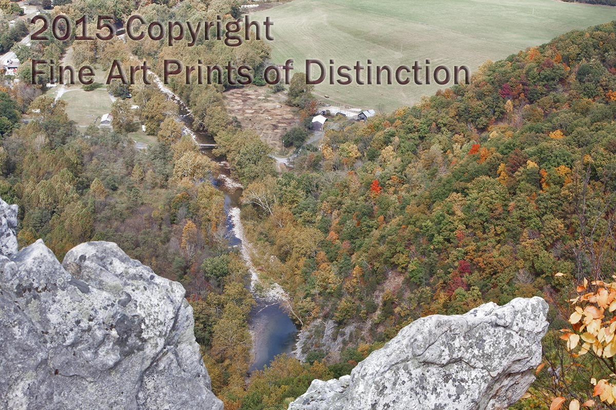 North Fork River Framed by Rock Art Print