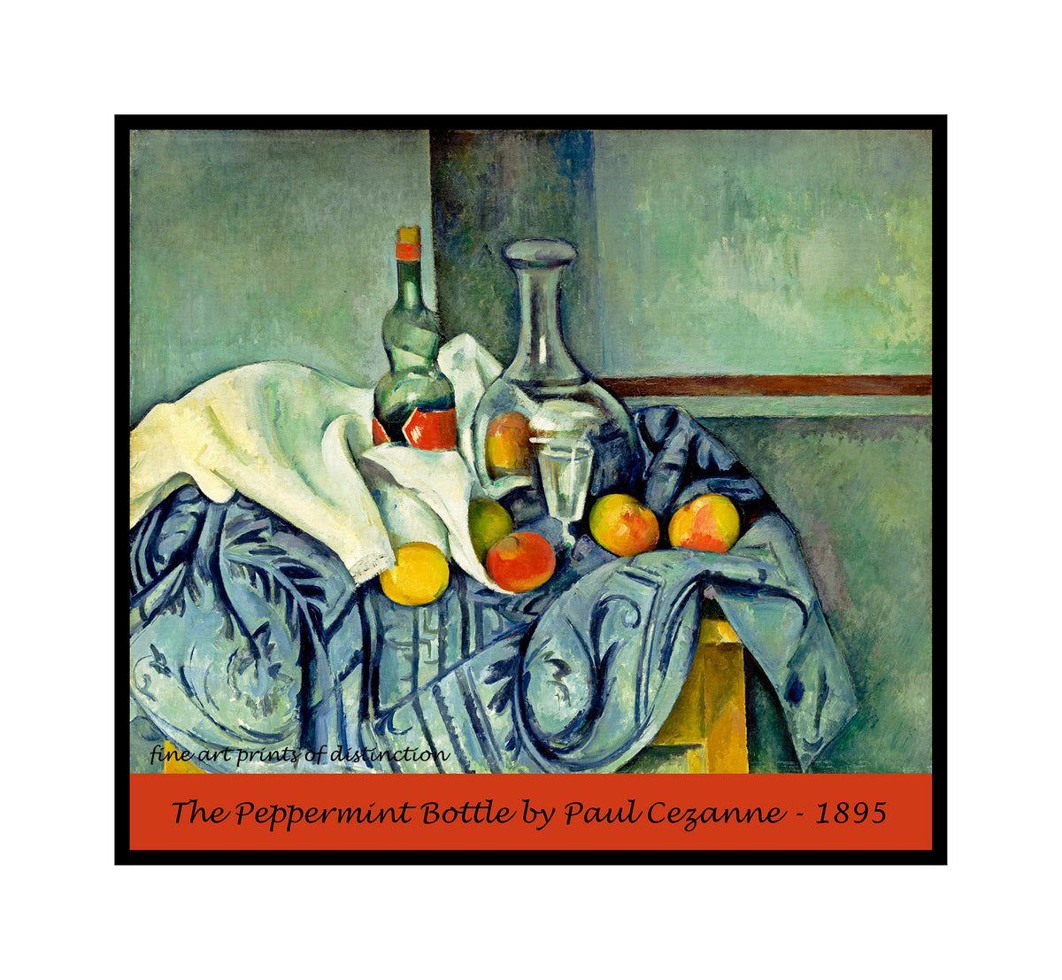 A premium poster of The Peppermint Bottle painted by Paul Cezanne in 1895