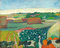 A premium print of Haystacks in Brittany painted by artist Paul Gauguin in 1890
