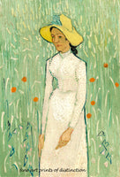 A premium print of Girl in White painted by Vincent Van Gogh in 1890