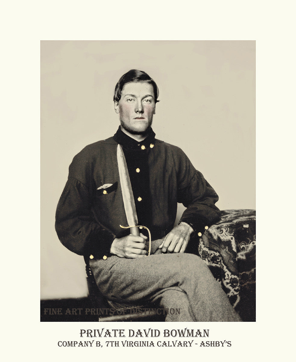Private David Bowman of the 7th Virginia Cavalry Company B completed in poster style