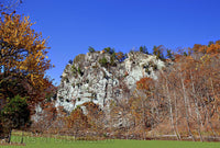Eagle Rocks in Smoke Holes WV with Yellow Tree