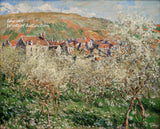 A premium print of Plum Trees in Blossom painted by Claude Monet in 1879