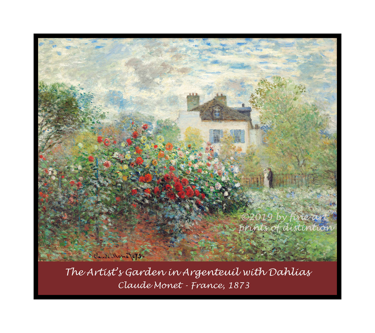 A premium poster of The Artist's Garden in Argenteuil (A Corner of the Garden with Dahlias) painted by Claude Monet in 1873