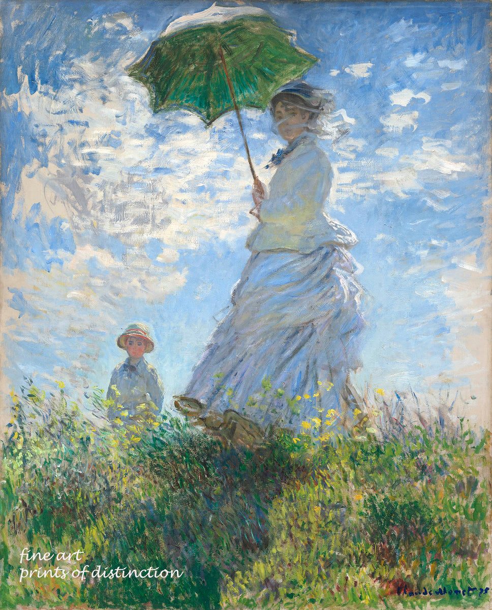 A premium print of Woman with a Parasol - Madame Monet and her Son painted by the French Impressionist artist Claude Monet in 1875