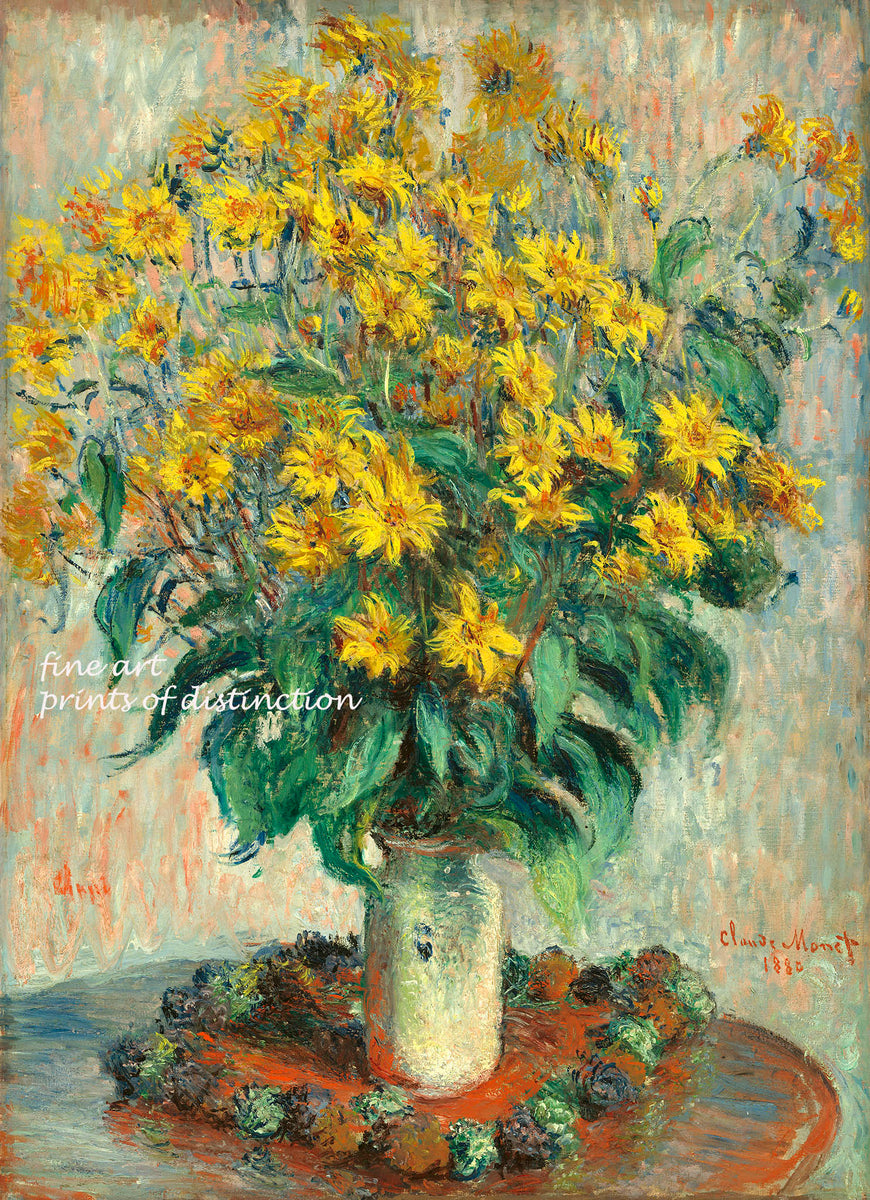A premium print of Jerusalem Artichoke Flowers painted by Claude Monet in 1880