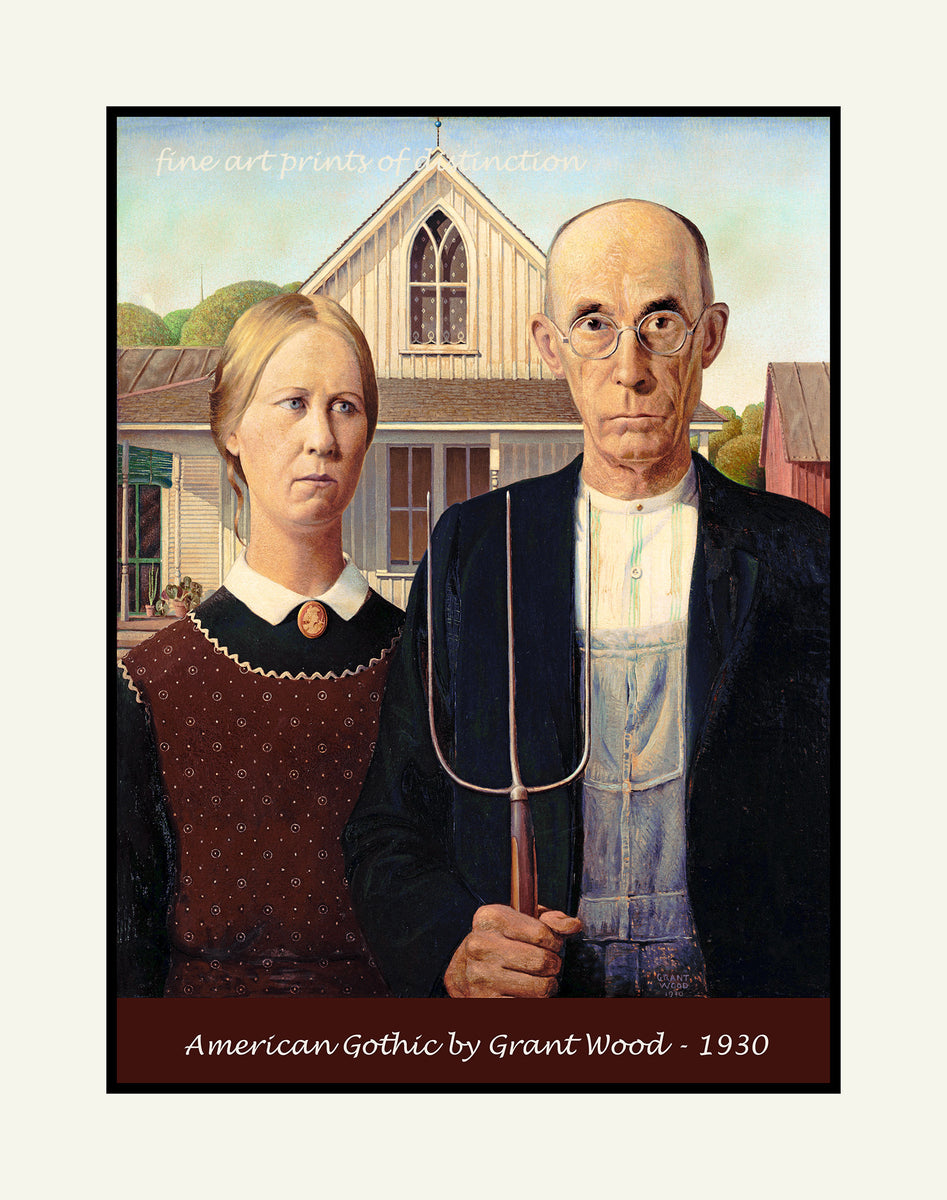 American Gothic painted by Grant Wood premium poster