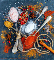 Spoons Filled with Kitchen Spices premium still life print