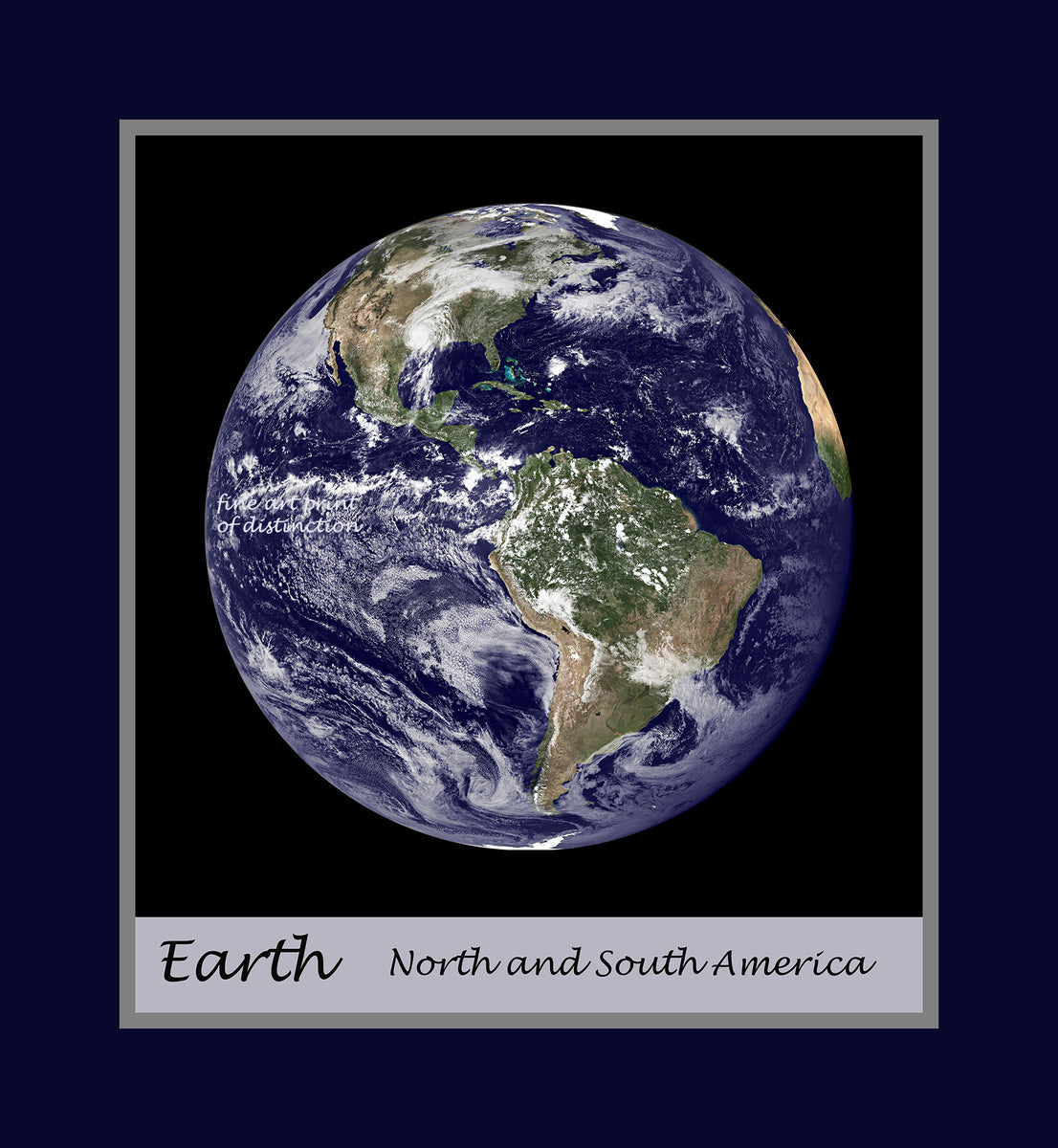 Premium Poster of Planet Earth as seen from outer space with a large Hurricane covering Texas