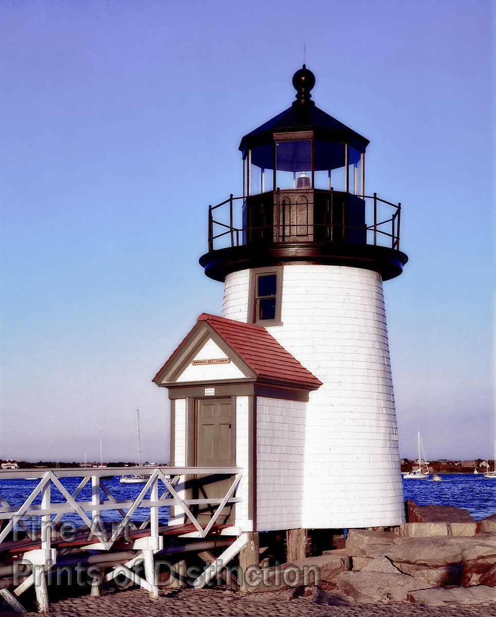 Brant Point Lighthouse on Nantucket Harbor in Massachusetts