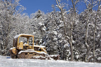 Bulldozer Parked in the Deep Snow Art Print