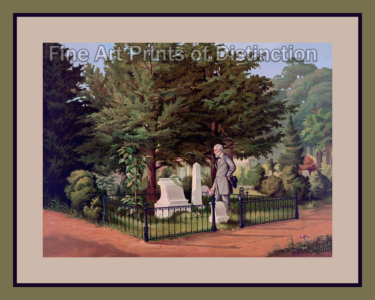 General Lee's Last Visit to Stonewall Jackson's Grave by A. J. Volck Art Print