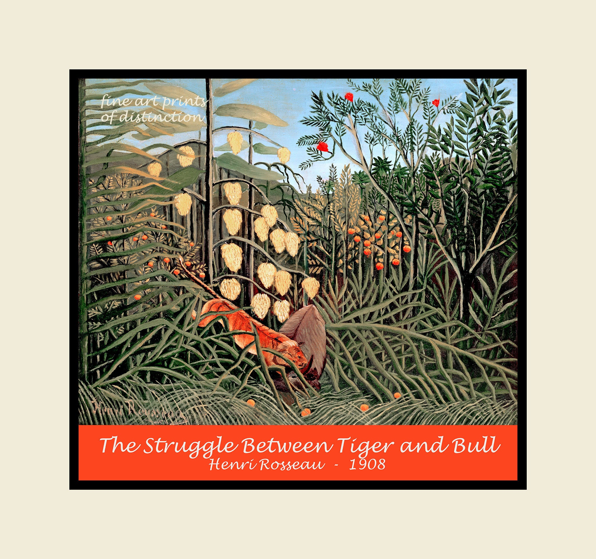 c635e3aa995 The Struggle Between Tiger and Bull painted by Henri Rousseau premium poster