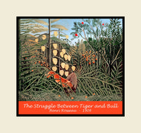 The Struggle Between Tiger and Bull painted by Henri Rousseau premium poster