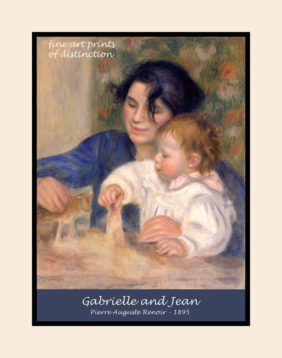 Gabrielle and Jean painted by Pierre Auguste Renoir premium poster