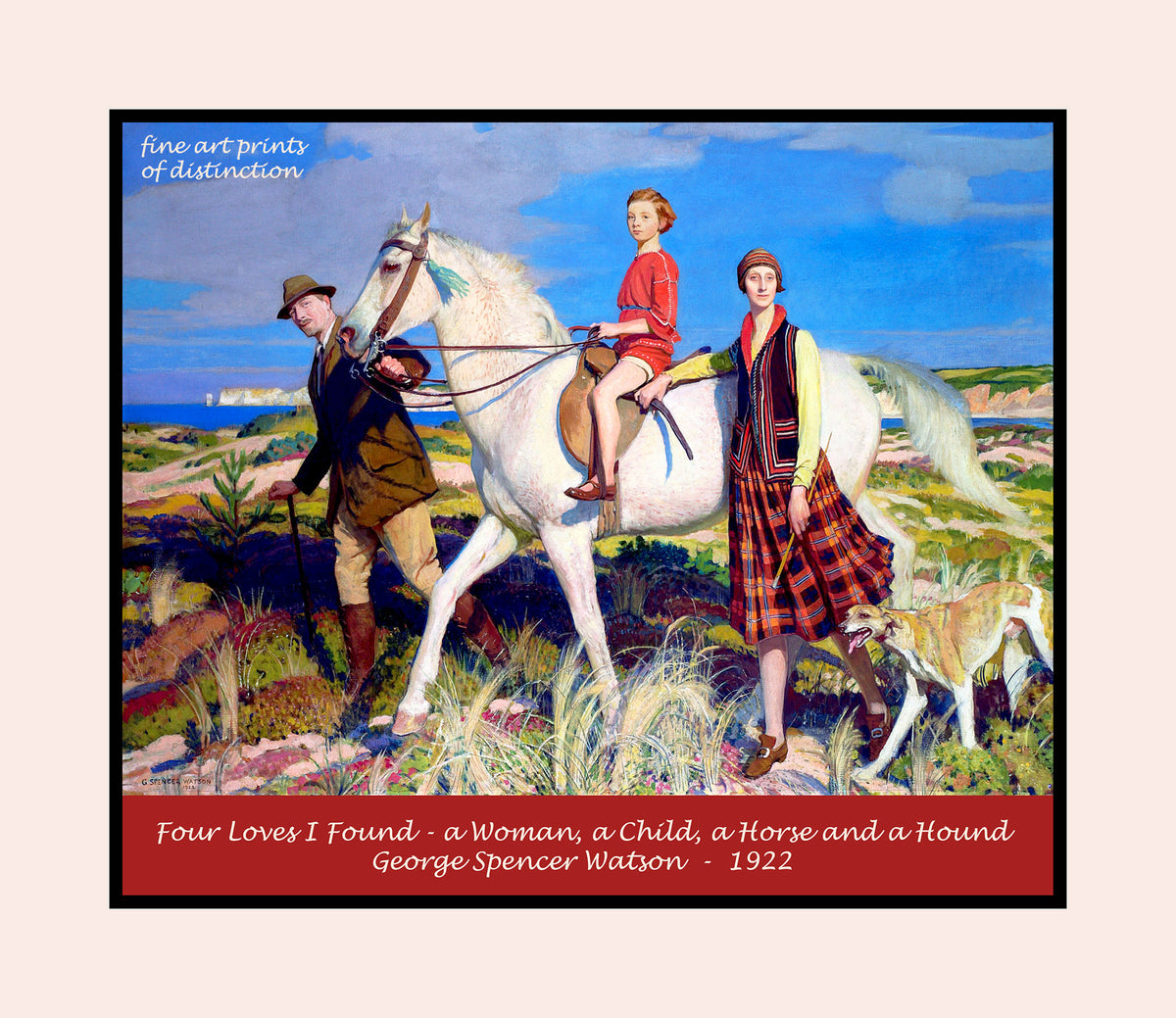 Four Loves I Found, a Woman, a Child, a Horse and a Hound by George Spencer Watson premium poster