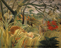 Surprised painted by French naive artist Henri Rousseau in 1891