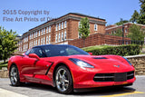 Torch Red Corvette Stingray in front of Stalnaker Hall at WVU