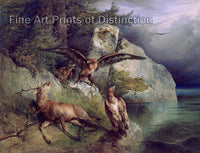 Eagles and Dying Deer on the Lakeshore by Friedrich Gauermann