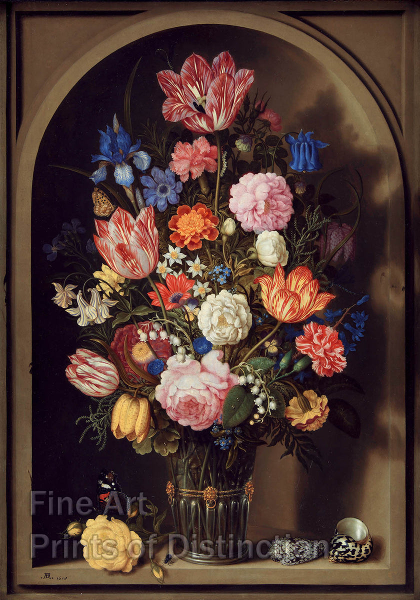 Bouquet of Flowers in a Stone Niche by Ambrosius Borschaerts the Elder Art Print