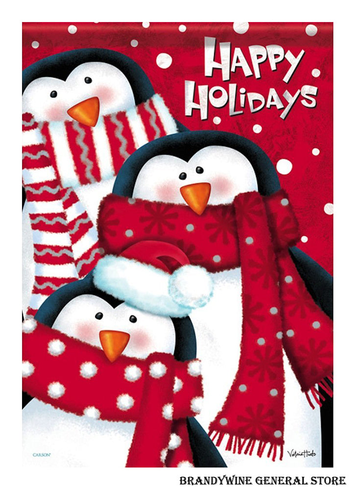 christmas penguins happy holidays flag brandywine general store
