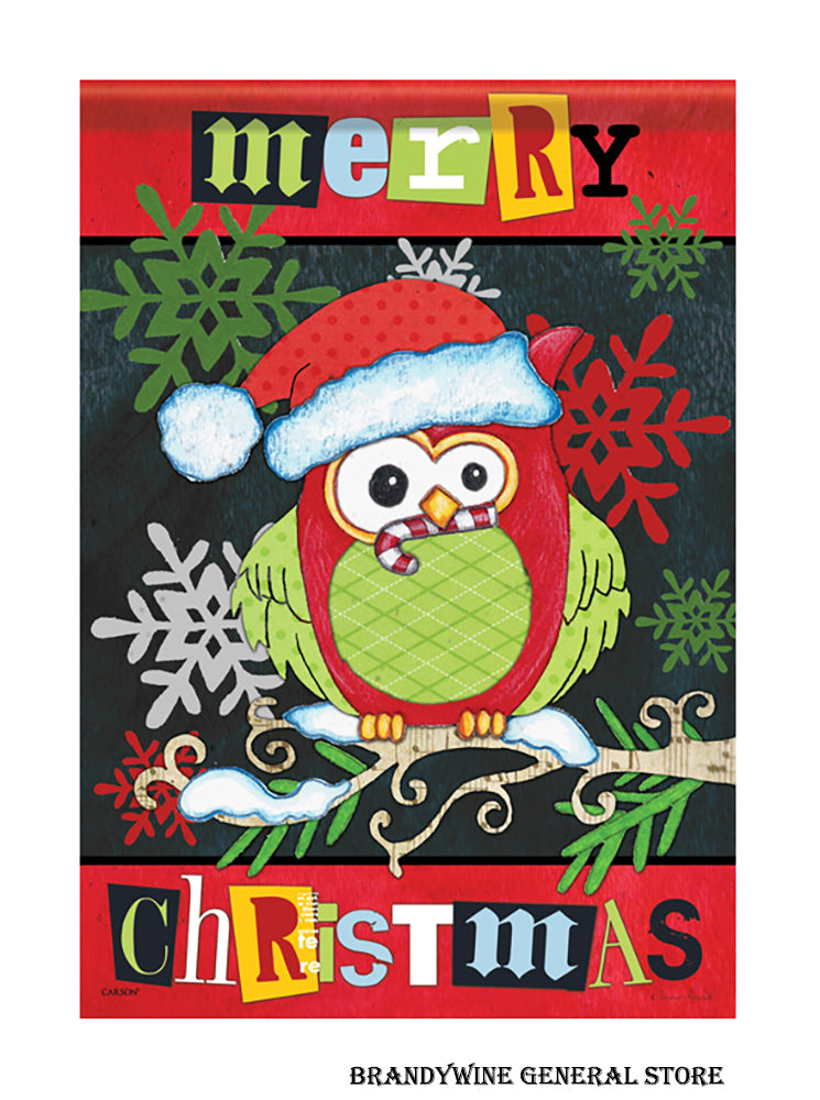 A Merry Owl Christmas garden flag
