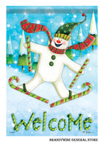 Candy Cane Skis Winter Snowman Flag