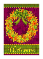 A Leaves Wreath flag with a brightly colored wreath with fall leaves
