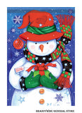 A Snowman and Gift Happy Holidays flag