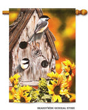 An Autumn Chickadee decorative fall flag