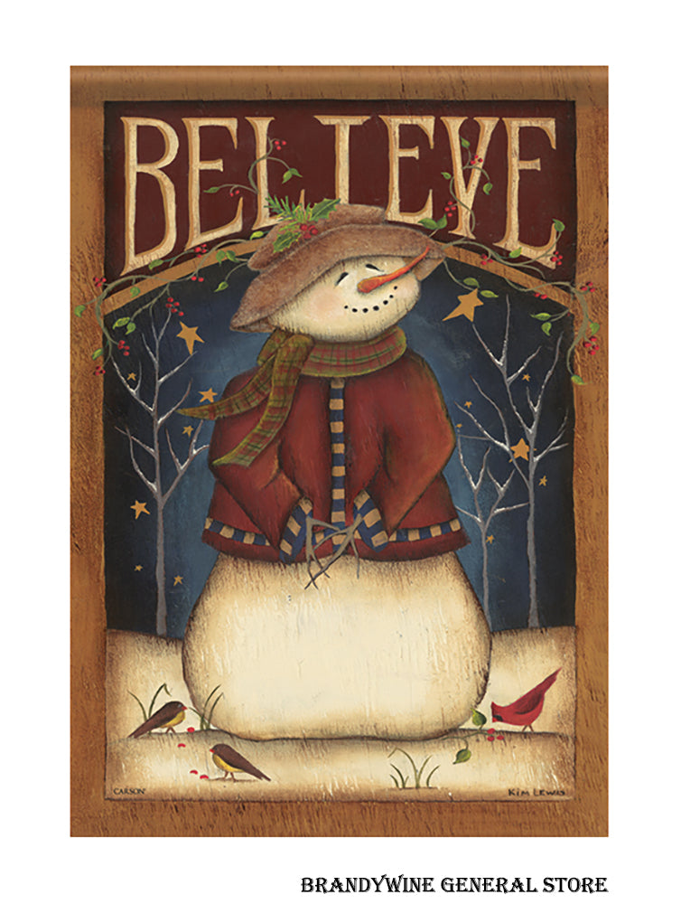 Believe Snowman decorative Holiday Flag