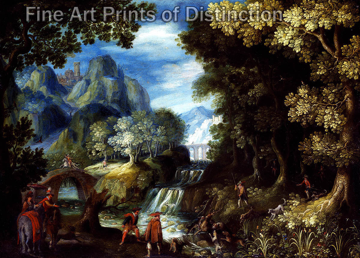 Landscape with Waterfall and Hunting Party by the Frankenthal School Art Print