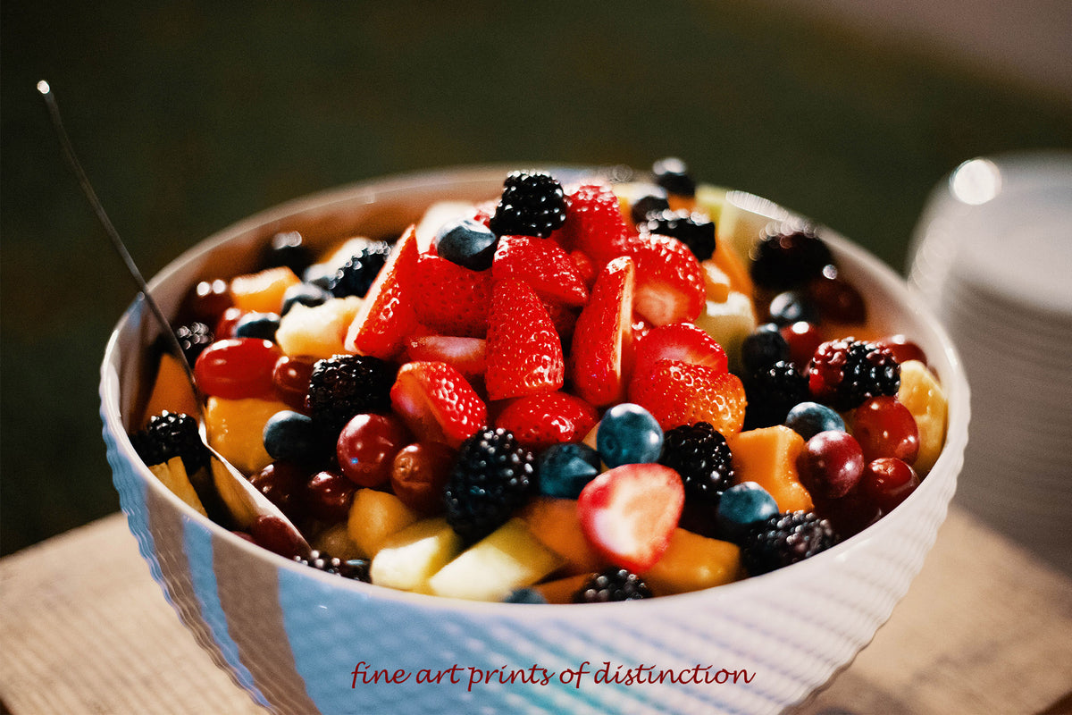 Colorful Berries in a Breakfast Bowl premium still life print