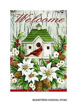 A Cardinal Birdhouse decorative Christmas flag