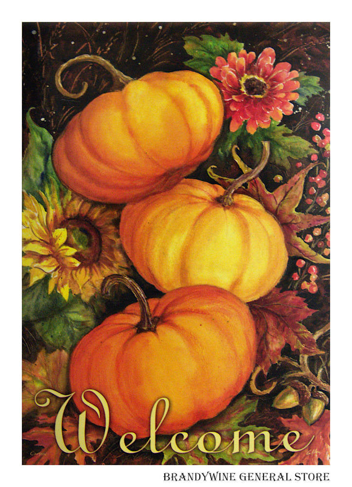Pumpkin Trio Decorative Welcome Flag