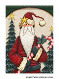 A Candy Cane Santa decorative Christmas flag showing St. Nick