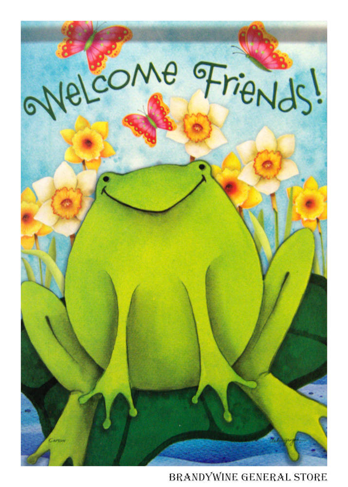 Welcome Spring Frog Decorative Flag