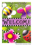 Checked Welcome Decorative Flag