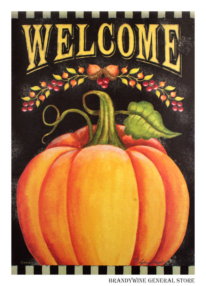 Pumpkin Welcome Decorative Flag