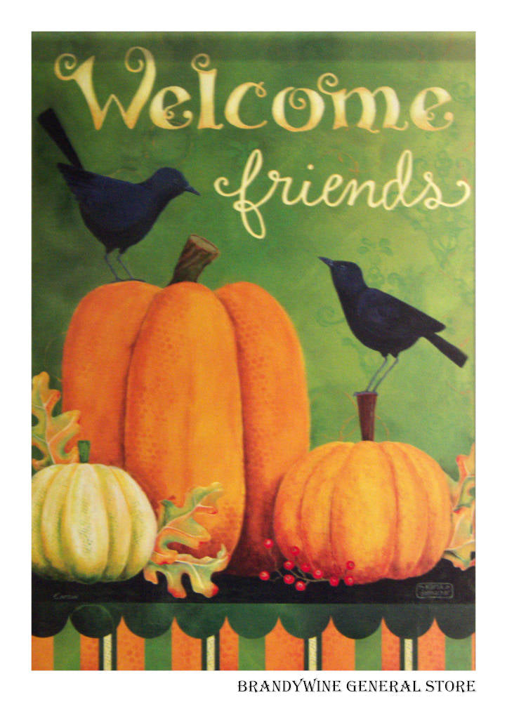 Pumpkins and Crows Decorative Flag
