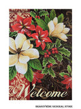 A Holiday Flowers decorative welcome flag