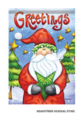 A Greetings from Santa decorative Holiday flag