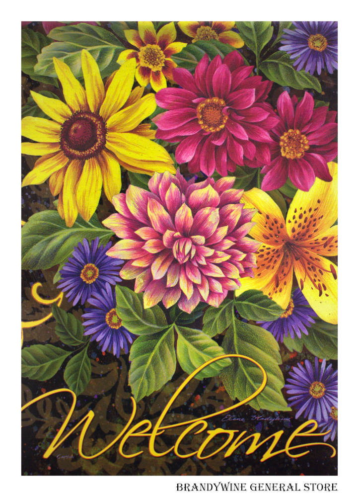 Fall Dahlias and Daisies Decorative Flag