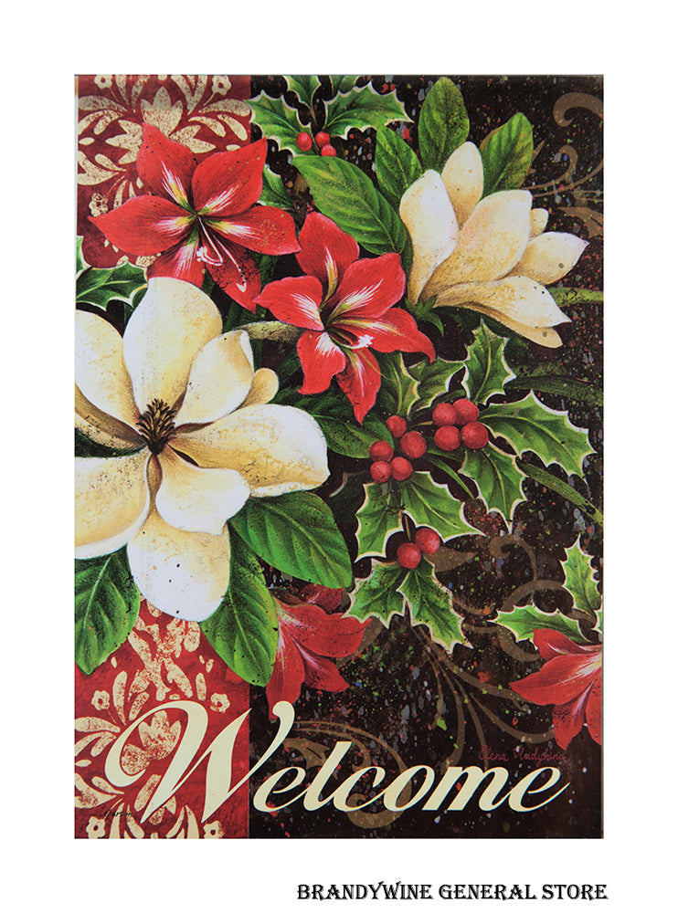 A Winter Floral Poinsettia decorative welcome flag