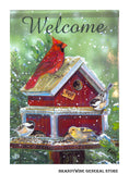 A Winter Gathering Welcome flag with red cardinal and birdhouse